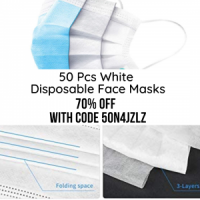 50 Pcs Disp Face Masks (White)