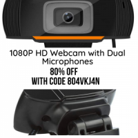 1080P HD Webcam with Dual Microphones - Webcam