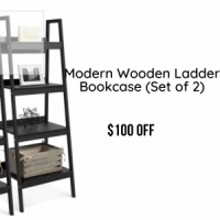 Modern Wooden Ladder Bookcase (Set of 2)